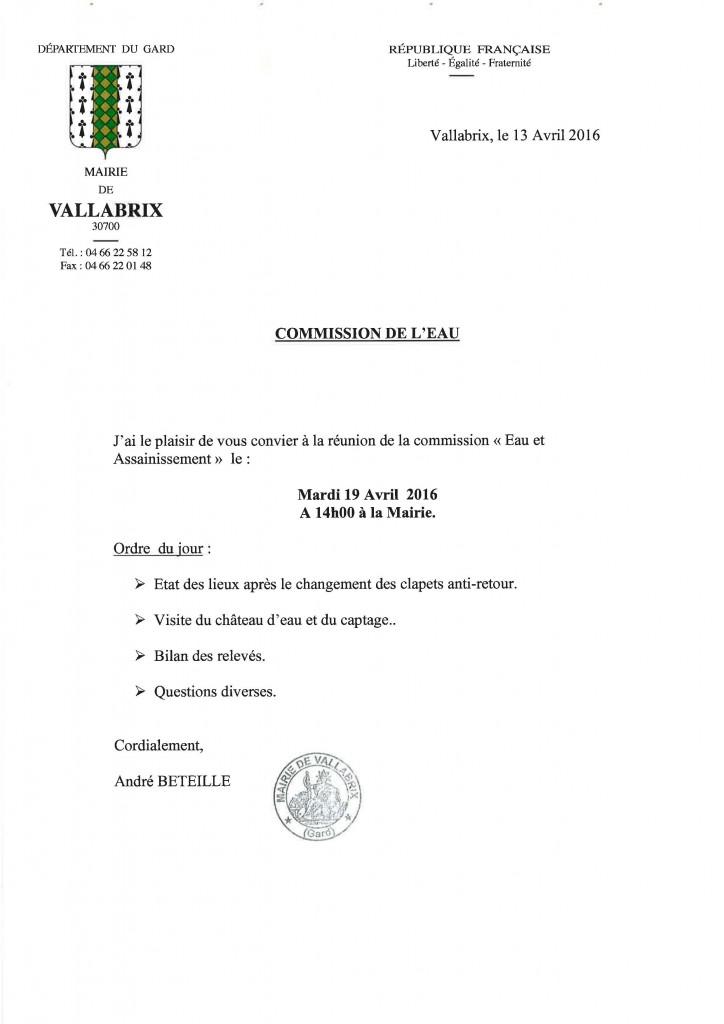 commission de leau 2016